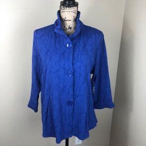 Peck & Peck Textured Blue Jacket NWT L
